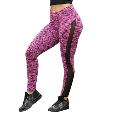 High Waist Mesh Side Stripe Fitness Workout Leggings