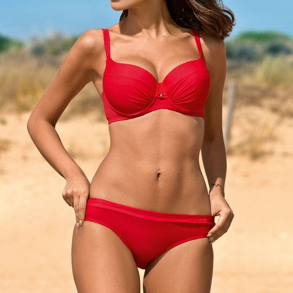 Side Tie High Waist Bikini Swimsuit Set