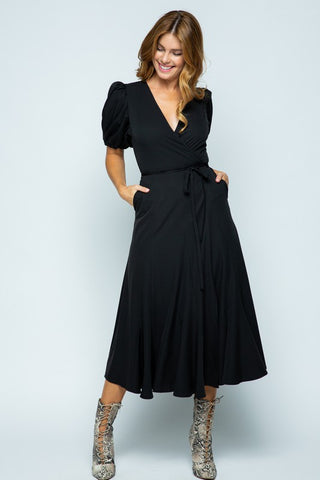 Bubble Sleeves Black Midi Dress