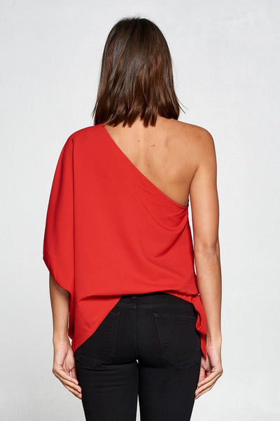 One Shoulder Side Tie Red Top