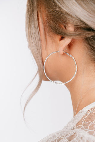 Silver Metallic Hoop Earrings