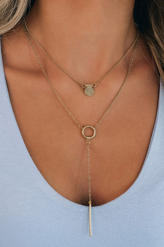 Gold layered lariat necklace
