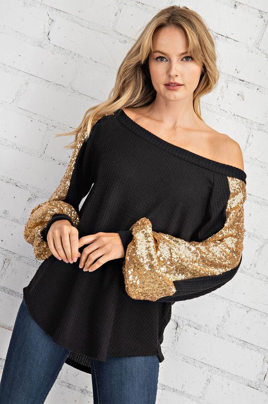 Knit Sequins Tunic Top