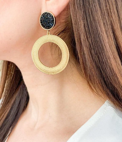 Black and gold textured circle earrings