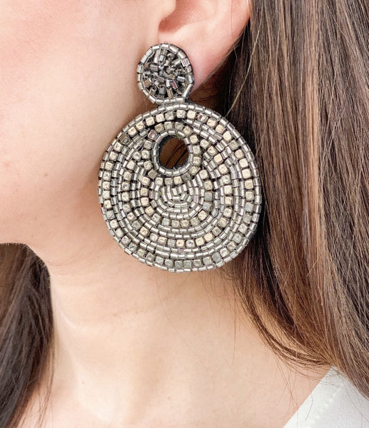 Metallic Bead Disc Earrings