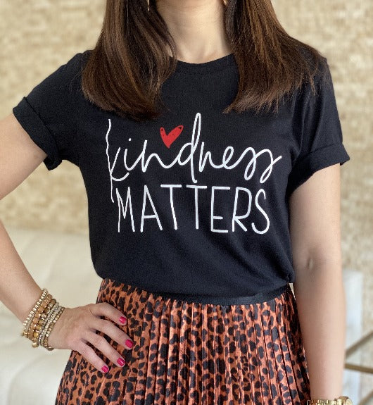 Kindness Matters Black Graphic T-Shirt