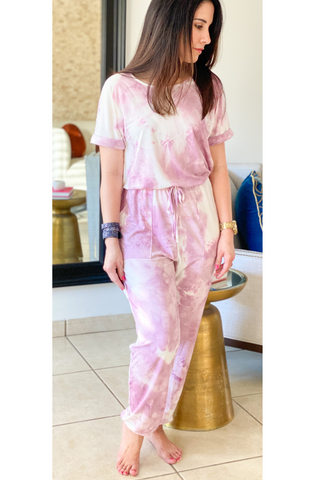 Tie Dye Short Sleeves Jumpsuit