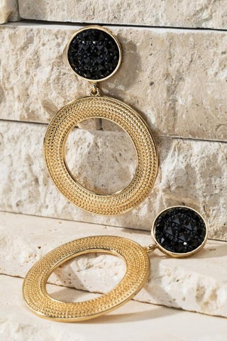 Black and gold circle earrings