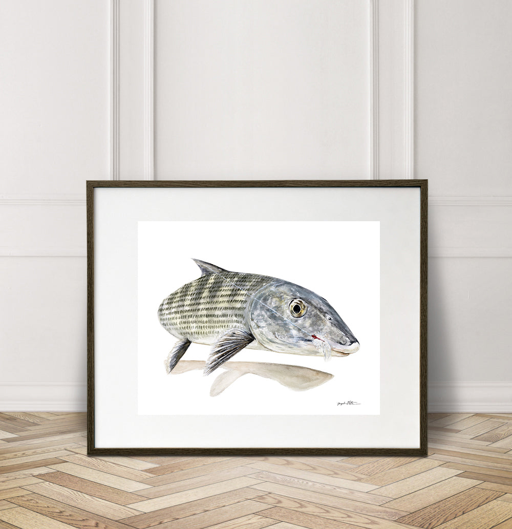 Limited Edition Fine Art Print: Bonefish on the fly