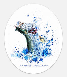 Fighting Fish Series (weather proof Oval Vinyl decal/Sticker) - 2. Silver King