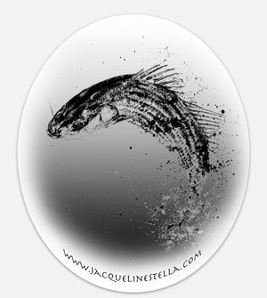 Fighting Fish Series (weather proof Oval Vinyl decal/Sticker) - 1. Knight Striper