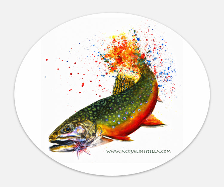 Fighting Fish Series (weather proof Oval Vinyl decal/Sticker) - 4. Brook Trout