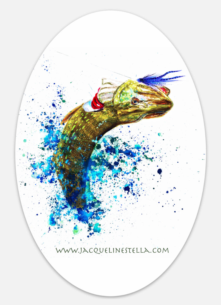 Fighting Fish Series (weather proof Oval Vinyl decal/Sticker) - 3. Pike, the Dragon King