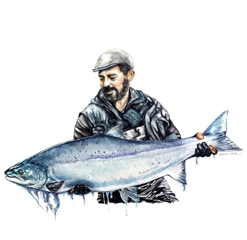 Custom Watercolor fisherman/fisherwoman Portrait