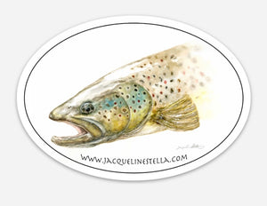Brown Trout weather proof Oval Vinyl decal/Sticker