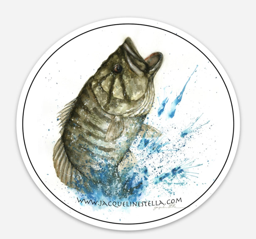 Smallmouth Bass weather proof Round Vinyl decal/Sticker