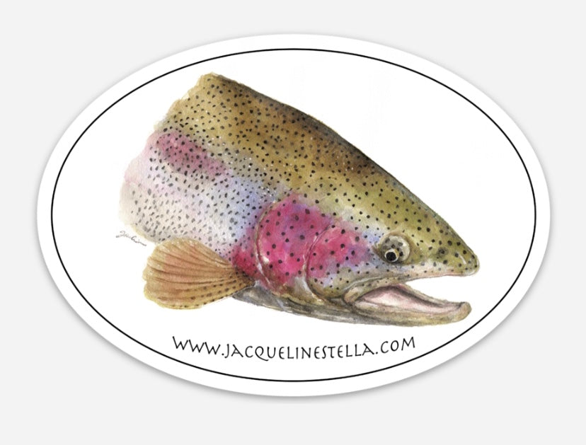 Rainbow Trout weather proof Oval Vinyl decal/Sticker