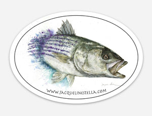 Chasing striped bass weather proof Oval Vinyl decal/Sticker