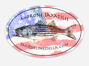 American Patriotic Striper, Morone Saxatilis, weather proof Oval Vinyl decal/Sticker