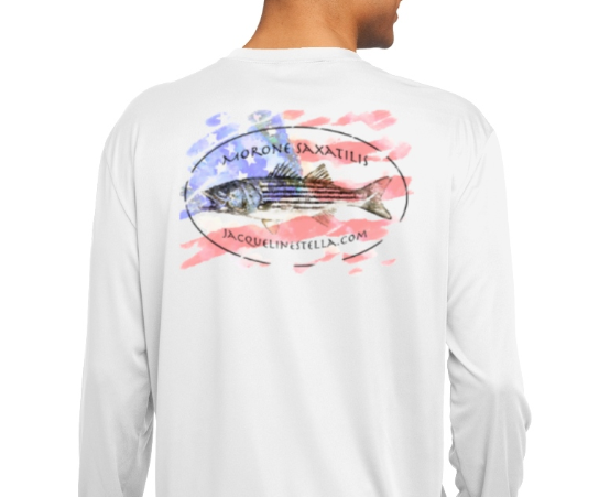 The Patriotic Striper Long sleeve cooling performance Tee