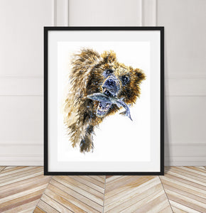 Limited Edition Fine Art Print: Alaskan Grizzly Bear with salmon