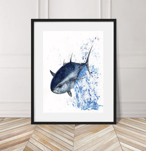 BlueFin Tuna Steel Original Watercolor Art