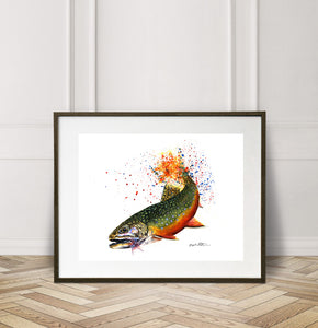 Limited Edition Fine Art Print: Brook Trout on the Fly