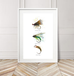 Limited Edition Fine Art Print: Art of Fly Tying, Collection 2 - Elk Hair Caddis, Caddis Emerger, Caddis Larva