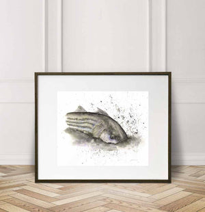 Striped Bass, Fall Run, Striper, Watercolor Painting Giclée Fine Art Print