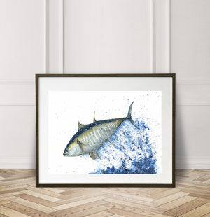 Bluefin Tuna Watercolor Painting Giclée Fine Art Print