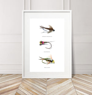 Limited Edition Fine Art Print: Art of Fly Tying, Collection 6 - American Pheasant Tail, Euro Frenchies, Prince Nymph