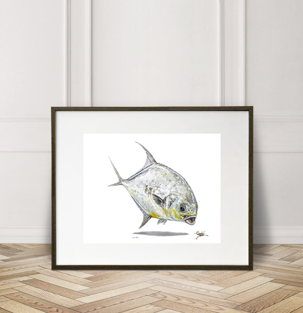 Limited Edition Fine Art Print: Permit on the crab fly