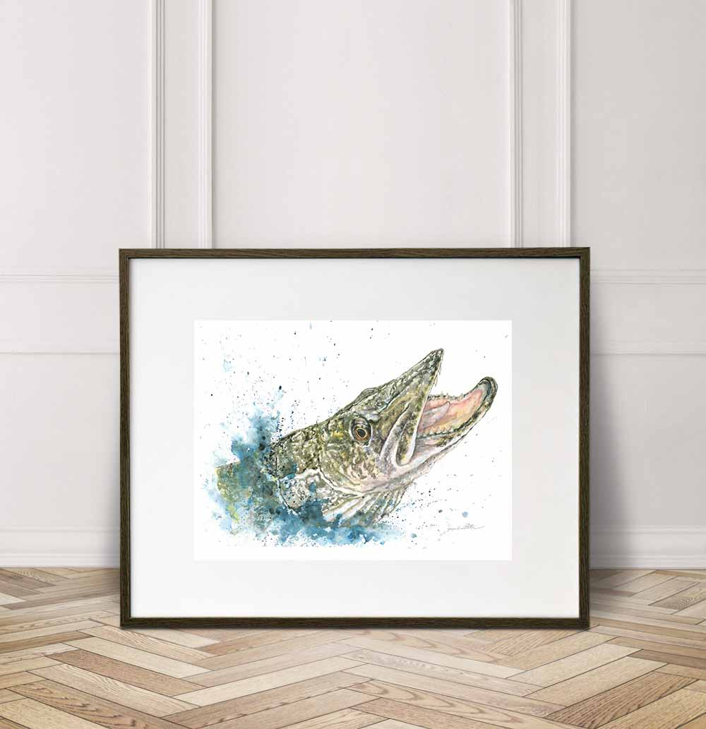 Pike - close up, Watercolor Painting Giclée Fine Art Print
