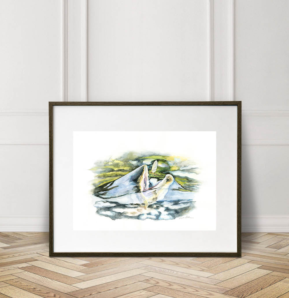 Rising Trout Watercolor Painting Giclée Fine Art Print