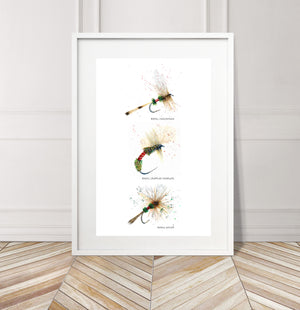 Limited Edition Fine Art Print: Art of Fly Tying, Collection 3 - Royals: Royal Cochman, Royal Crippled Emerger, Royal Wulff