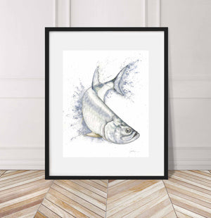 Tarpon jumping and turning right, Watercolor Painting Giclée Fine Art Print