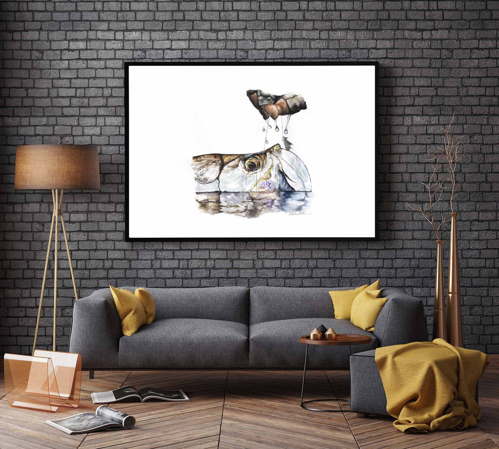 Tarpon on Fly Watercolor Painting Giclée Fine Art Print