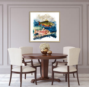 Limited Edition Fine Art Print: Beautiful moment of two trouts