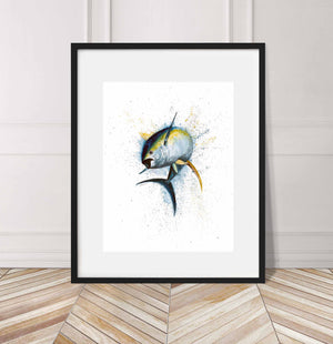 Yellow Fin Tuna, jumping out of water, Watercolor Painting Giclée Fine Art Print