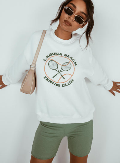 Laguna Beach Crewneck Sweatshirt White