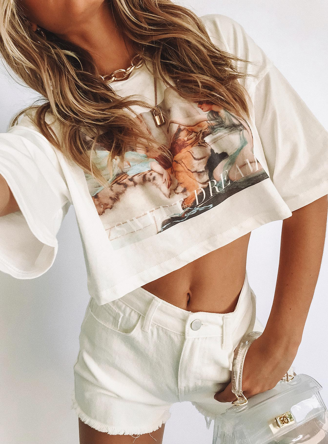 TWIIN Dream On Oversized Crop Tee Multi