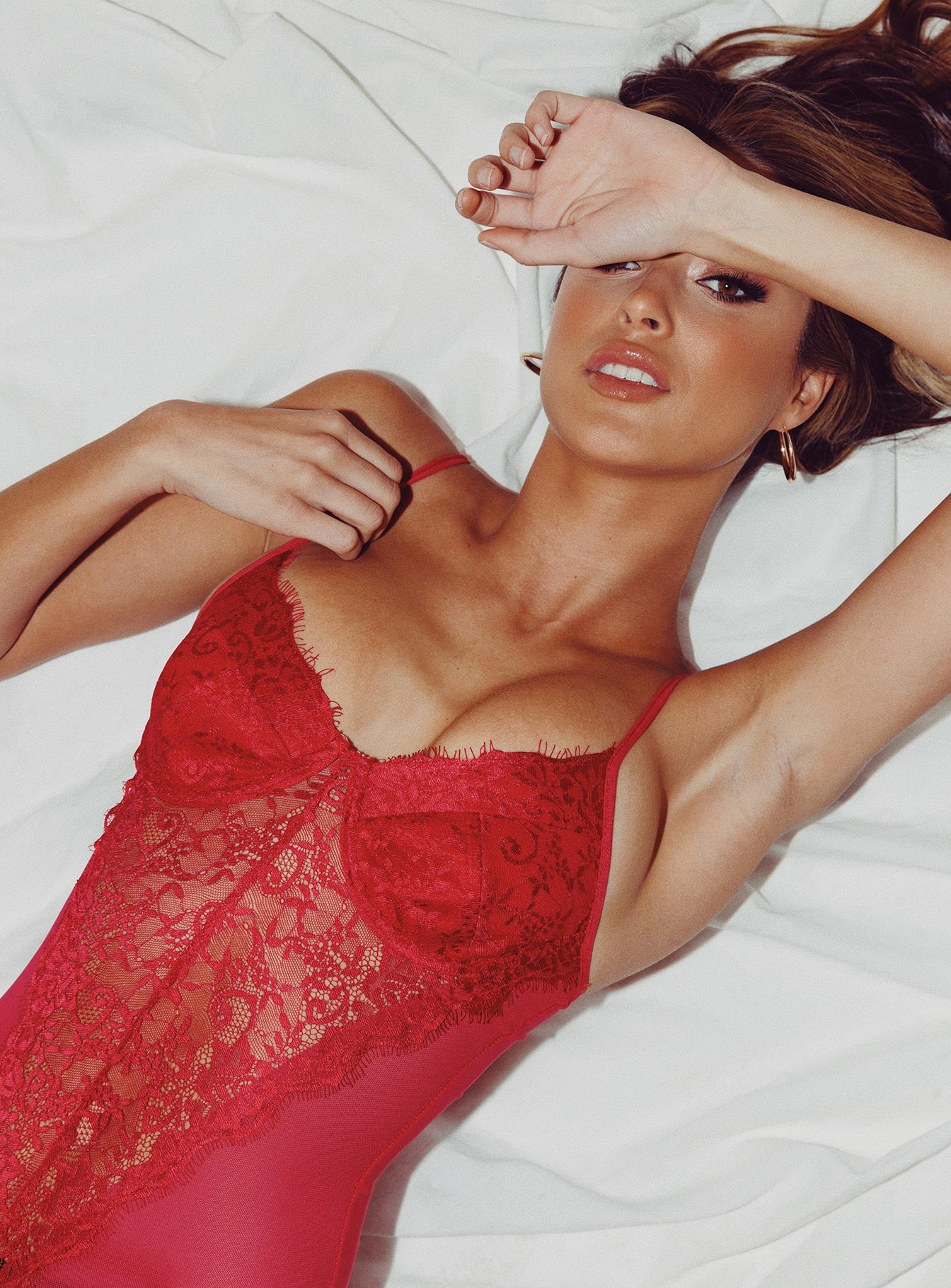 Forbidden Romance Lace Bodysuit Red