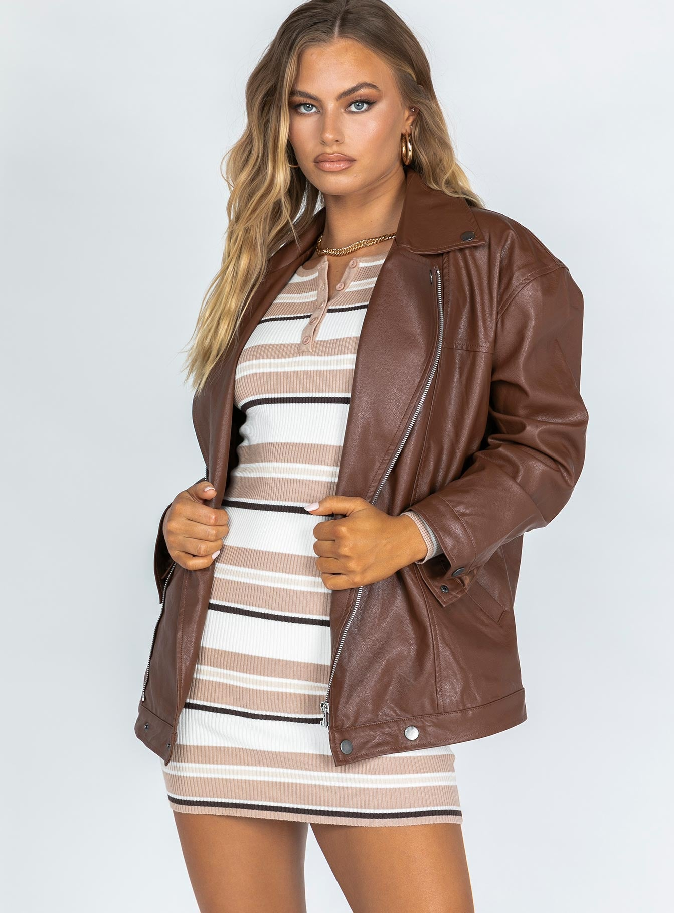Next in Line Biker Jacket Brown