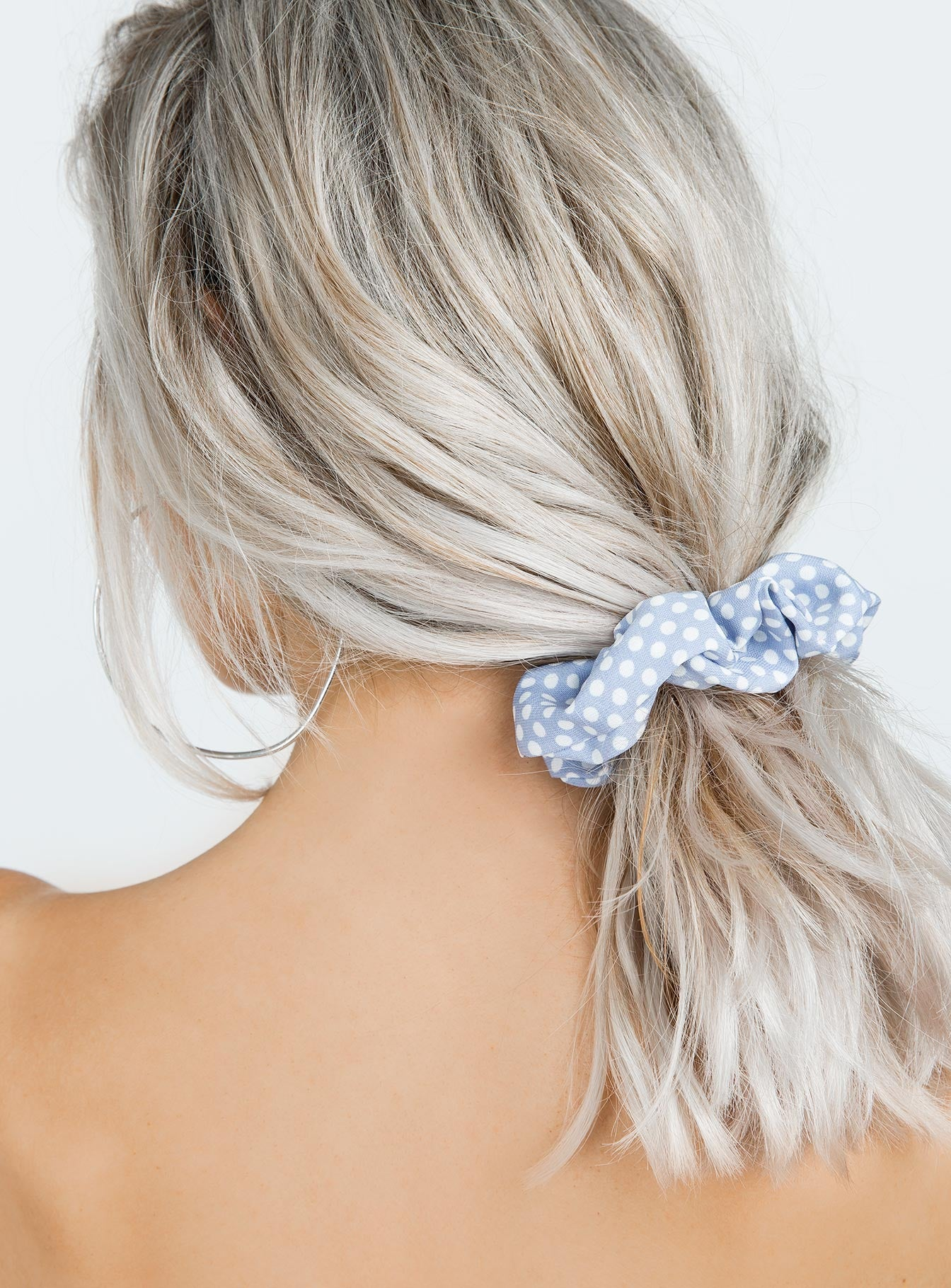 Baby Blue Polka Dot Scrunchie