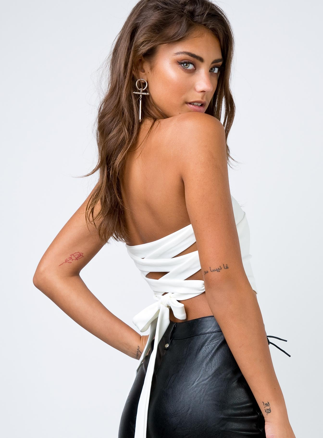 Moxie Strapless Crop Top White