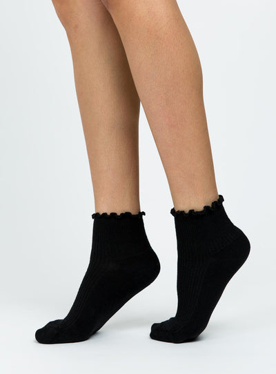 Ribbed Ruffle Socks Black
