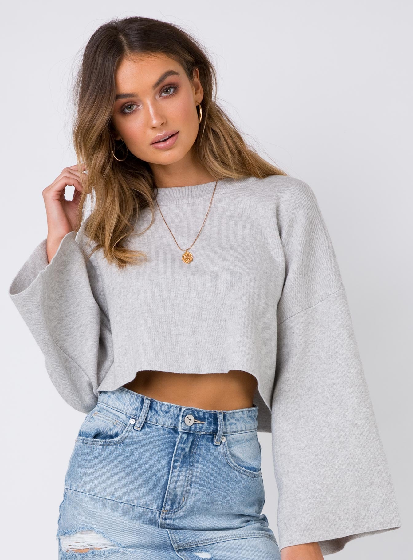 Girl Soldier Crop Jumper Grey