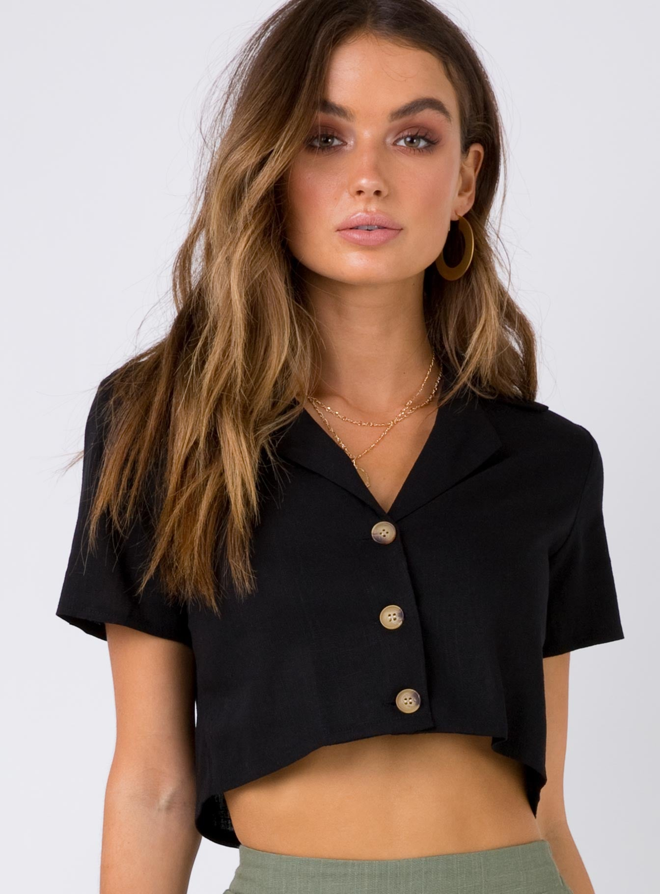 Maple Sky Crop Top Black