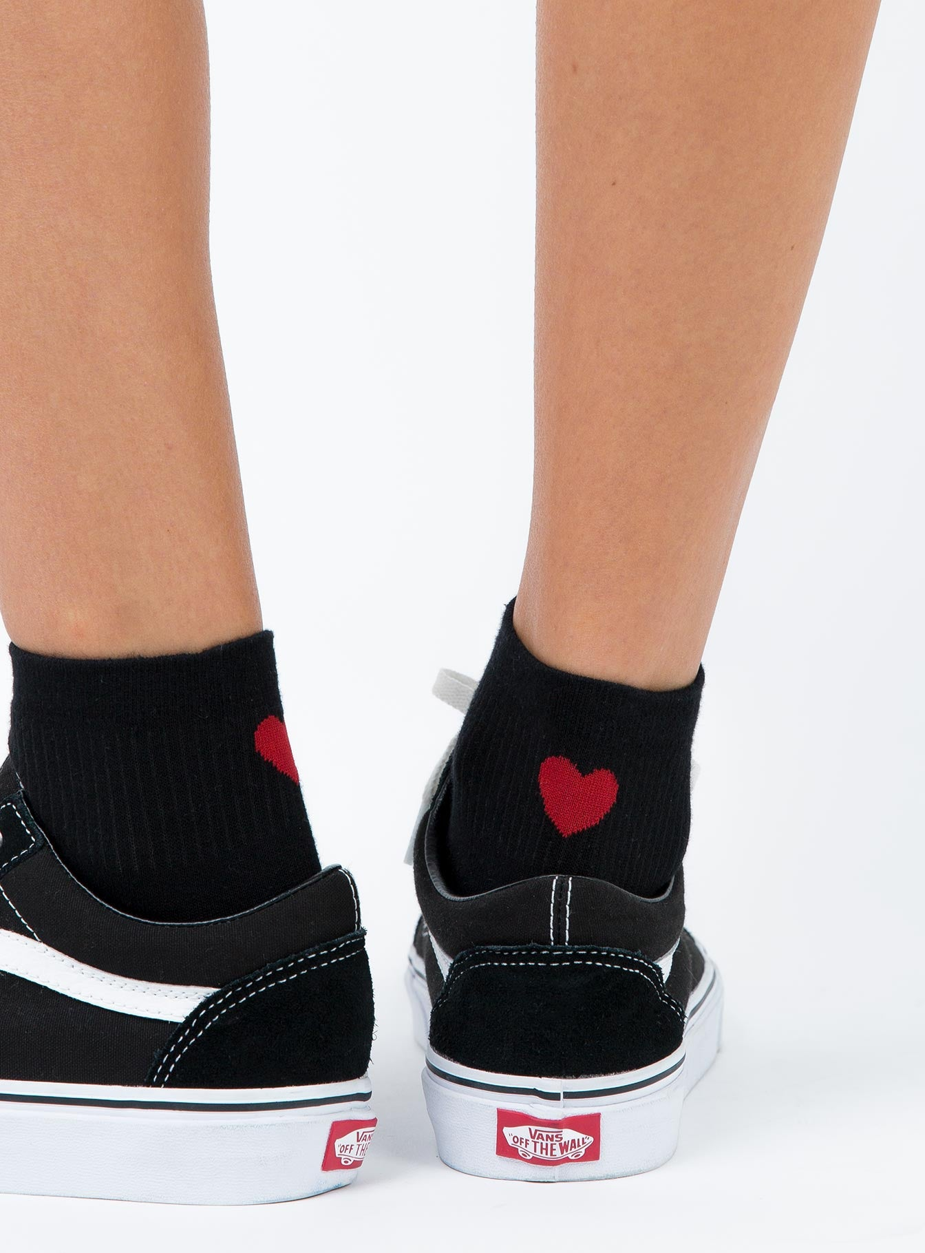 Ayla Heart Socks Black