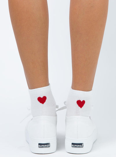 Ayla Heart Socks White